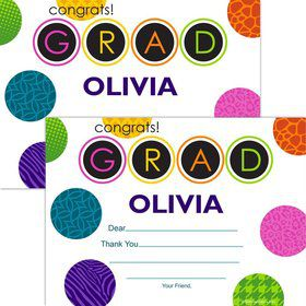 Colorful Graduation Personalized Thank You Note (Each)
