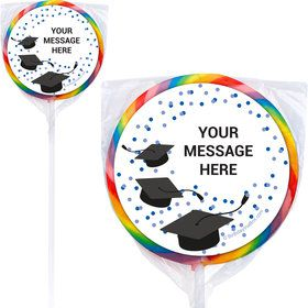 "Confetti Grad Blue Personalized 3"" Lollipops (12 Pack)"