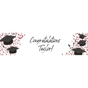 Confetti Grad Burgundy Personalized Banner (Each)