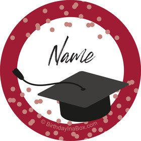 Confetti Grad Burgundy Personalized Mini Stickers (Sheet of 24)