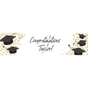 Confetti Grad Gold Personalized Banner (Each)