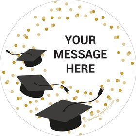 Confetti Grad Gold Personalized Stickers (Sheet of 12)