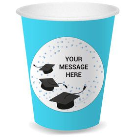 Confetti Grad Light Blue Personalized Cups (8)