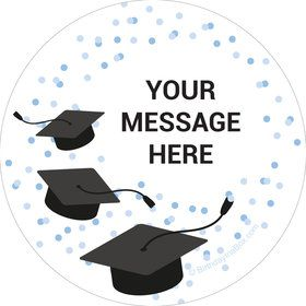 Confetti Grad Light Blue Personalized Stickers (Sheet of 12)
