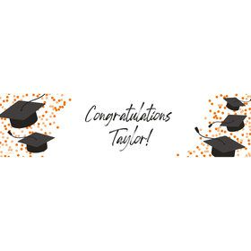 Confetti Grad Orange Personalized Banner (Each)