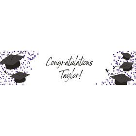 Confetti Grad Purple Personalized Banner (Each)