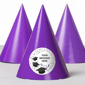 Confetti Grad Purple Personalized Party Hats (8 Count)