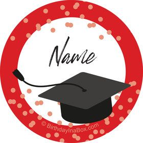 Confetti Grad Red Personalized Mini Stickers (Sheet of 24)