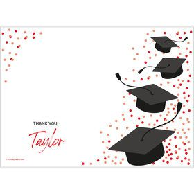 Confetti Grad Red Personalized Thank You (Each)