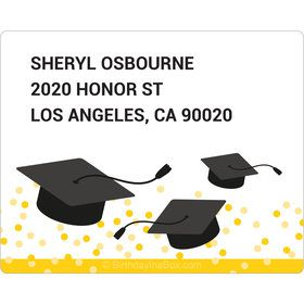 Confetti Grad Yellow Personalized Rectangular Stickers (Sheet of 15)