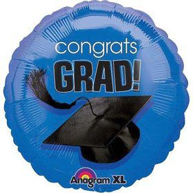 "Congrats Grad 18"" Blue Balloon (Each)"