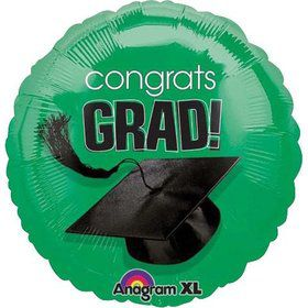 "Congrats Grad 18"" Green Balloon (Each)"