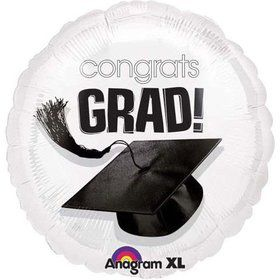 "Congrats Grad 18"" White Balloon (Each)"