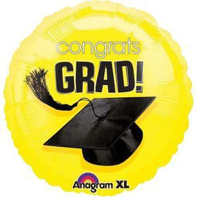 "Congrats Grad 18"" Yellow Balloon (Each)"