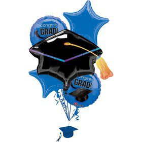 Congrats Grad Blue Balloon Bouquet (Each)