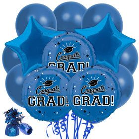 Congrats Grad Blue Balloon Bouquet Kit