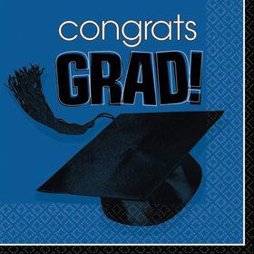 Congrats Grad Blue Beverage Napkins (36 Pack)