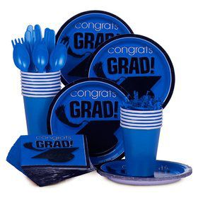 Congrats Grad Blue Standard Tableware Kit Serves 18