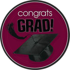 "Congrats Grad Burgundy 9"" Luncheon Plates (18 Pack)"