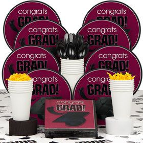 Congrats Grad Burgundy Deluxe Tableware Kit Serves 18