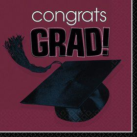 Congrats Grad Burgundy Luncheon Napkins (36 Pack)