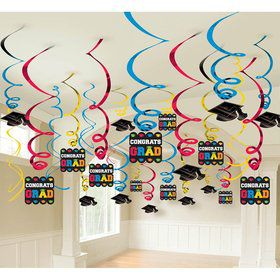 Congrats Grad Colorful Foil Swirl Decorations (Each)