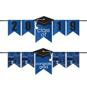 Congrats Grad Glitter Blue Graduation Year Banner Kit