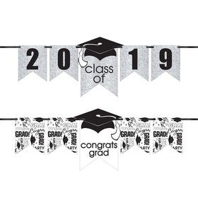 Congrats Grad Glitter White Graduation Year Banner Kit