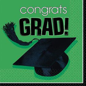 Congrats Grad Green Beverage Napkins (36 Count)
