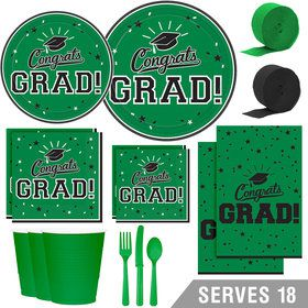 Congrats Grad Green Deluxe Tableware Kit (Serves 18)