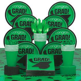 Congrats Grad Green Deluxe Tableware Kit Serves 18