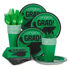 Congrats Grad Green Standard Tableware Kit Serves 18