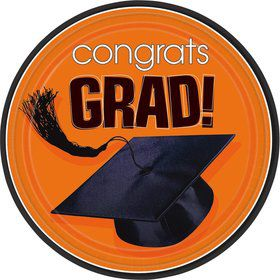 "Congrats Grad Orange 9"" Luncheon Plates (18 Pack)"