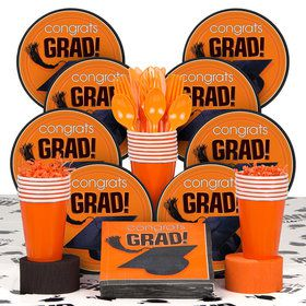 Congrats Grad Orange Deluxe Tableware Kit Serves 18