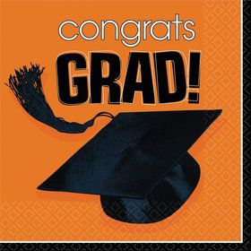 Congrats Grad Orange Luncheon Napkins (36 Pack)