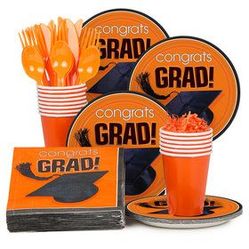 Congrats Grad Orange Standard Tableware Kit Serves 18