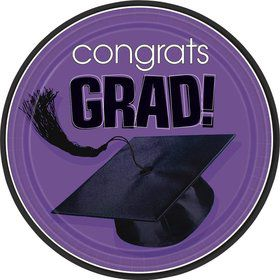 "Congrats Grad Purple 9"" Luncheon Plates (18 Pack)"