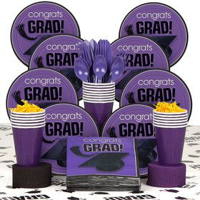 Congrats Grad Purple Deluxe Tableware Kit Serves 18