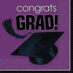Congrats Grad Purple Luncheon Napkins (36 Pack)