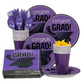 Congrats Grad Purple Standard Tableware Kit Serves 18