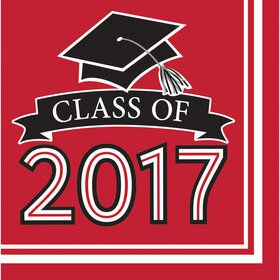 Congrats Grad Red 2017 Lunch Napkins (36 Count)