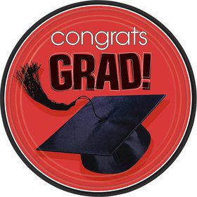"Congrats Grad Red 9"" Luncheon Plates (18 Pack)"