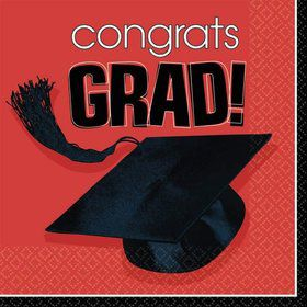 Congrats Grad Red Beverage Napkins (36 Pack)