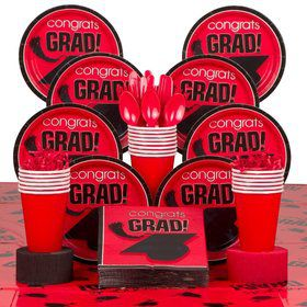 Congrats Grad Red Deluxe Tableware Kit Serves 18
