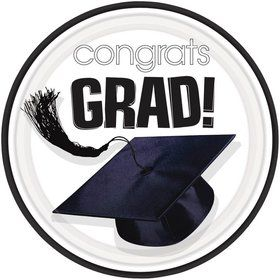 "Congrats Grad White 7"" Cake Plates (18 Pack)"