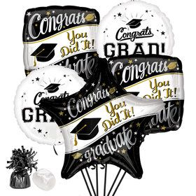 Congrats Grad White Deluxe Balloon Bouquet Kit