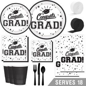 Congrats Grad White Deluxe Tableware Kit (Serves 18)