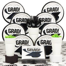 Congrats Grad White Deluxe Tableware Kit Serves 18