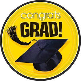 "Congrats Grad Yellow 9"" Luncheon Plates (18 Pack)"