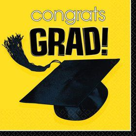 Congrats Grad Yellow Beverage Napkins (36 Pack)